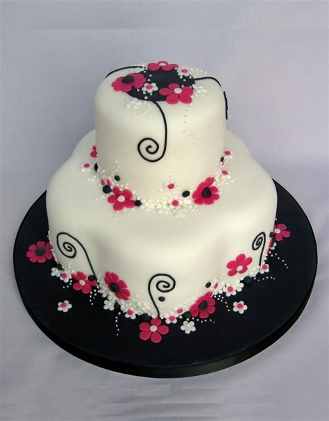 black and pink birthday cake pink black white flowery birthday cake cakecentral com