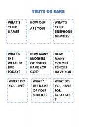 Games worksheets gt truth or dare gt truth or dare speaking cards