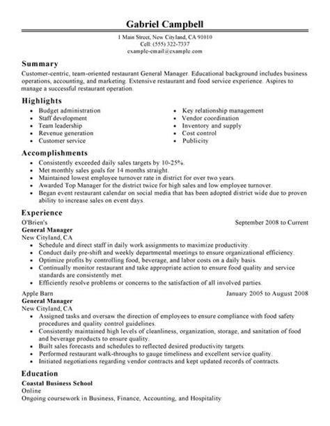 Resume Objective Restaurant by Resume Exles Restaurant Manager Resume Sle Free General Manager Restaurant Resume Sle