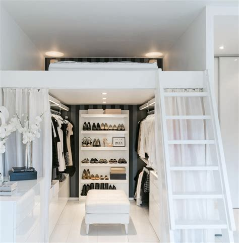 closet under bed compact apartment with a loft bed and walk in closet