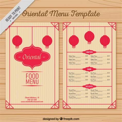menu template with lanterns vector free