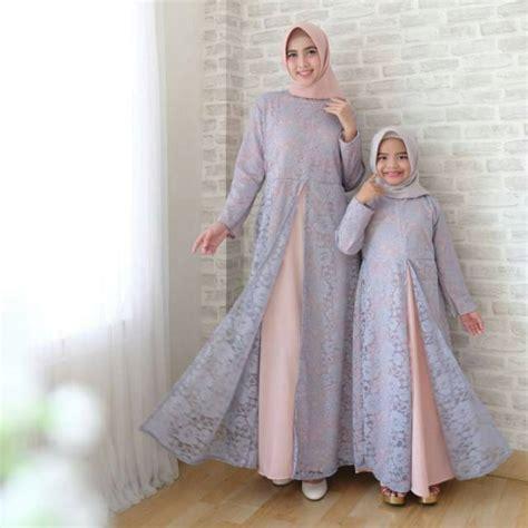 Gamis Pesta Ibu Ibu baju muslim pesta gamis modern ibu dan anak brukat