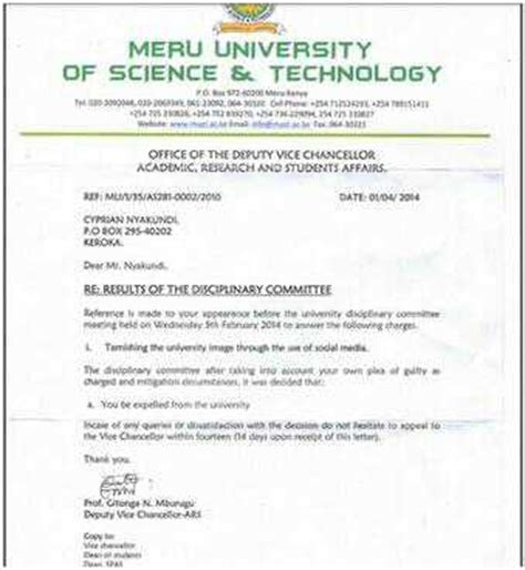 Kenya Letter Of Administration Meru Student Activist Expelled For Revealing Sexual Harrassment By School