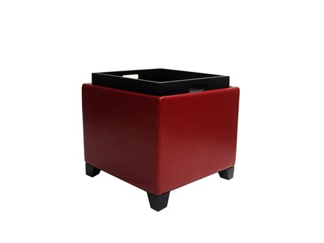 Contemporary Storage Ottoman With Tray Red Contemporary Storage Ottoman