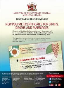 And Tobago Birth Records New Polymer Certificates And Tobago Government News
