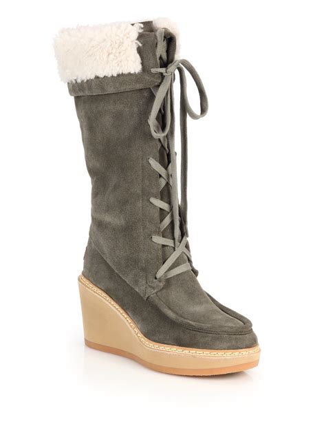 see by chlo 233 shearling trimmed suede lace up wedge knee