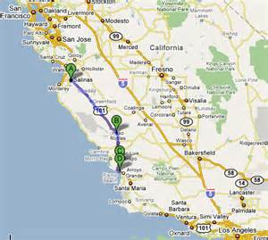 map of california coast of san francisco san francisco bay area to los angeles along highway 101