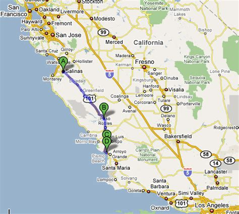 Pch San Francisco To Los Angeles - san francisco to los angeles map