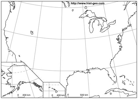 blank us map with alaska and hawaii outline map of the usa 50 states with parallels and