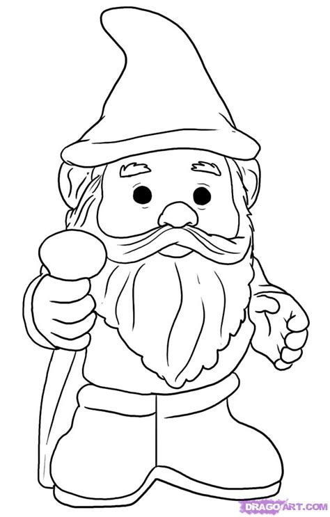 coloring page garden gnome how to draw a gnome step by step stuff pop culture