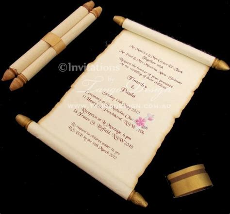 How To Make Paper Look Like A Scroll - burnt edge mini scroll invitation on parchment style paper