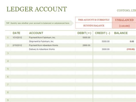 accounts ledger template accounting templates
