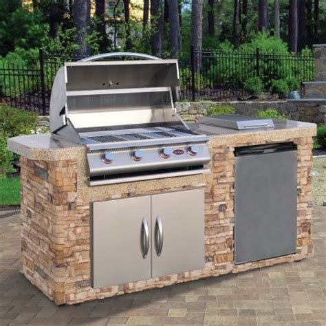 Backyard Grill Charcoal Walmart Cal Flame 7 Ft Natural Stone Grill Island With 4 Burner