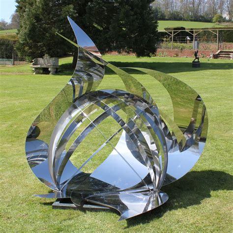 modern garden sculpture synergy modern stainless steel art large garden sculpture