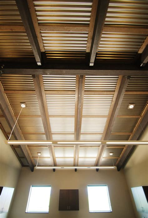 Basement Roof Tiles by Corrugated Ceiling In Office Metal Accents