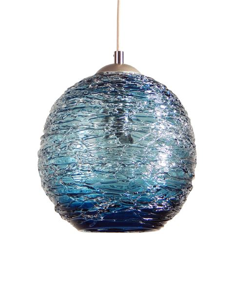 Steel Blue Spun Hand Blown Glass Pendant Hanging Lights By Blown Glass Pendant Lights