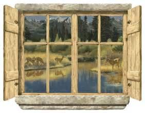 Window Wall Decor by Rustic Window Deer Peel Stick Wall Mural