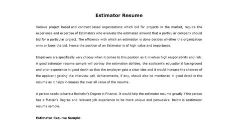 Shop Estimator Sle Resume by Estimator Resume 28 Images Husam Ibrahim Detailed Resume 05012010 Best Photos Of Estimate