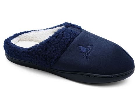 funky slippers mens navy slip on indoor flat warm mule fleece comfy cool
