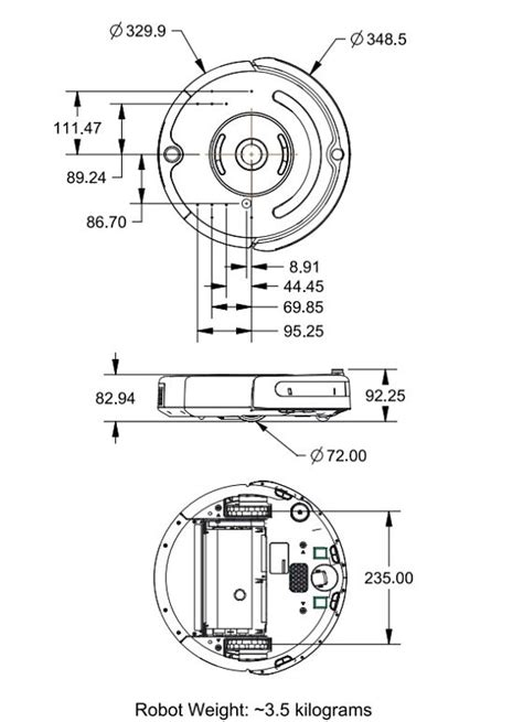 roomba parts diagram roomba create 2 physical dimensions opt into robotics