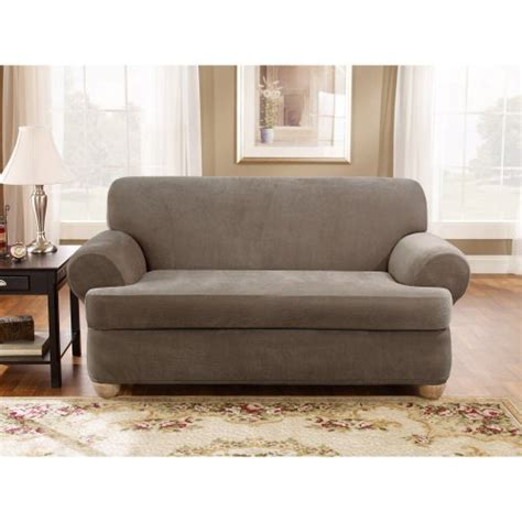 3 piece slipcover for loveseat sure fit stretch pique 3 piece t loveseat slipcover taupe