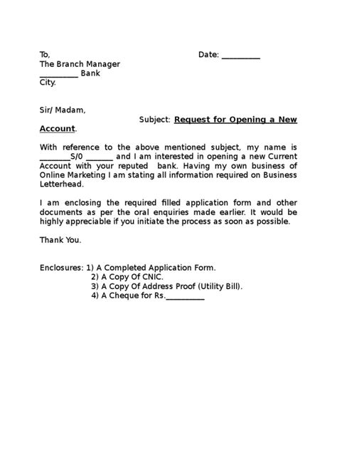 application letter open bank account application letter for bank account opening