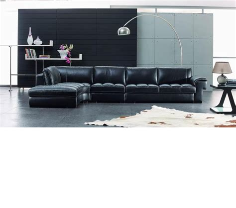 Dreamfurniture Com Sbo3999 Modern Black Leather Modern Black Sectional Sofa