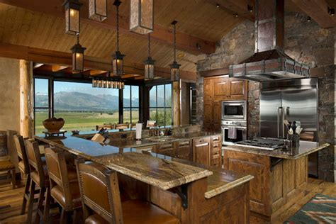 rustic cabin kitchen layout pictures best home 53 sensationally rustic kitchens in mountain homes