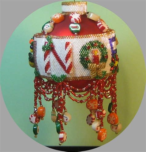 beaded christmas ornament instructional pattern tutorial