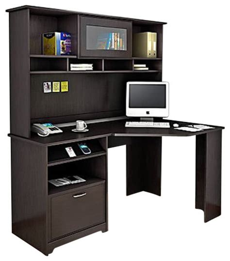 oak corner computer desk with hutch bush cabot corner computer desk with hutch in espresso oak