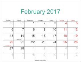 february 2017 calendar with holidays weekly calendar