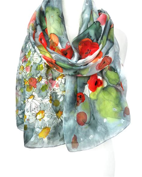 poppies scarf painted scarf silk scarf birthday gift