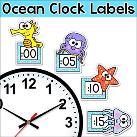 free printable clock labels ocean theme telling time clock labels under the sea