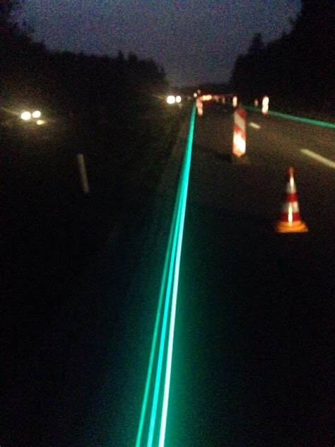 glow in the paint roads glow in the highway becomes reality
