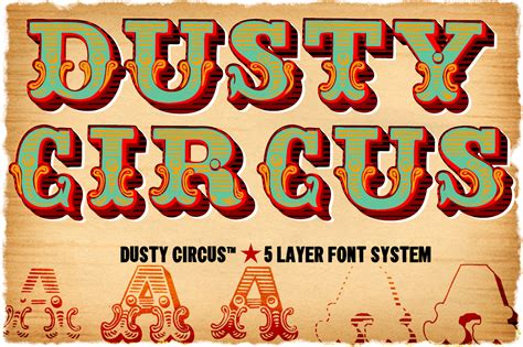 dusty circus 5 layer font system display fonts on