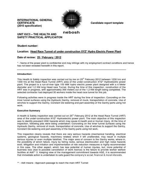 practical report template igc 3 management report igc 3 sle