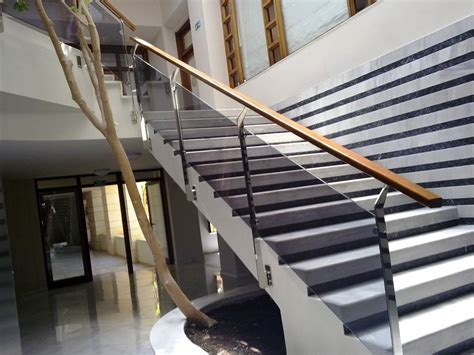 Steel Banister Rails by Stainless Steel Railing With Glasses And Wooden Handrails