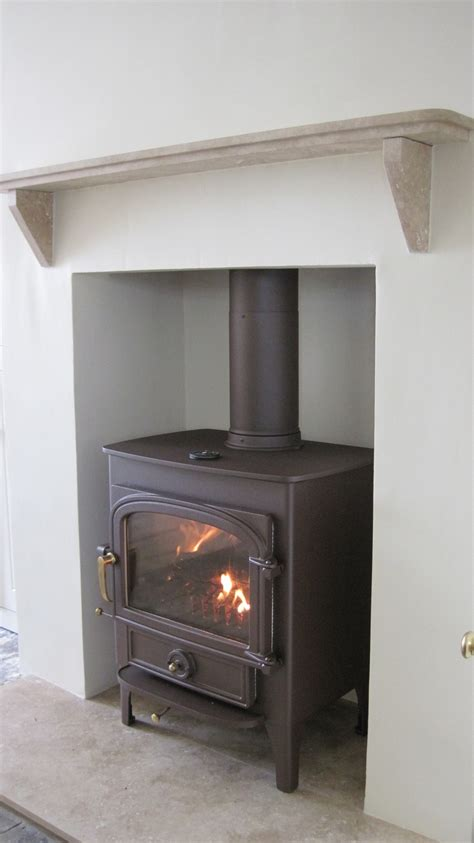Stove Mantle Clearview Vision 500 Wood Burner In Mahogany Brown And