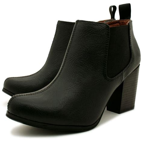 buy womens black leather style chelsea block heel ankle boots