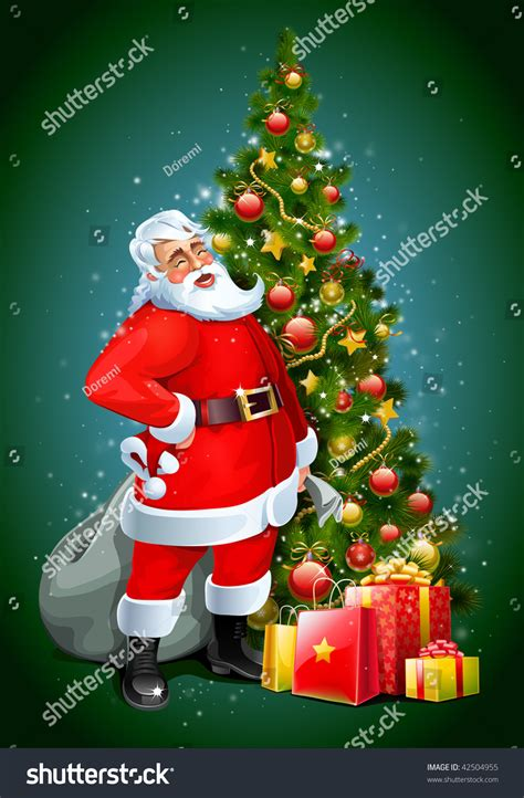 santa and a tree santa claus tree gifts stock illustration