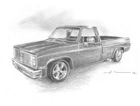 Chevy Truck Drawings by 86 Chevy Truck Pencil Portrait Drawing By Mike Theuer