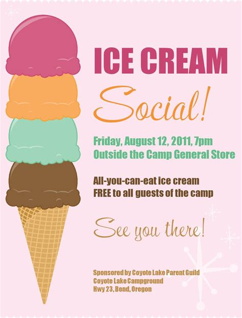 printable event poster ice cream social free printable pta ideas pinterest