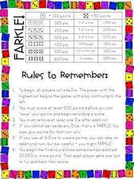 printable directions for farkle farkle in the classroom by the elementary bookworm abby