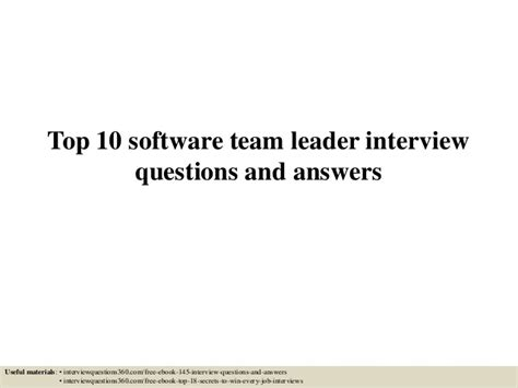 top 10 software team leader questions and answers