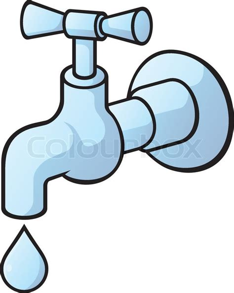 Faucet Supplier Dripping Tap Light Blue Illustration With Light Shadows