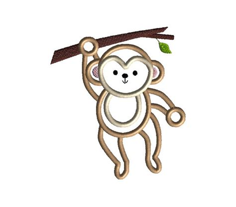 monkey applique monkey hanging applique machine embroidery design