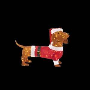 dachshund christmas lights home accents 40 in led lighted tinsel dachshund in santa coat and hat ty752 1614 0