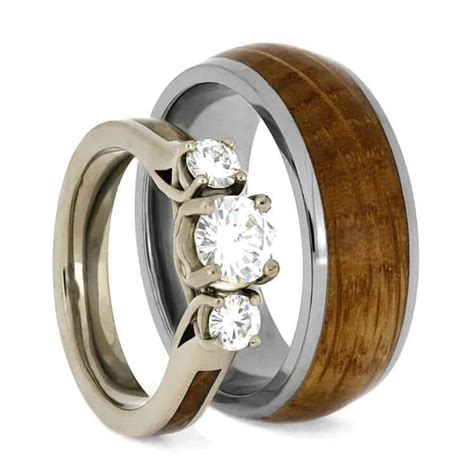 wood wedding ring set white gold and titanium rings 3781