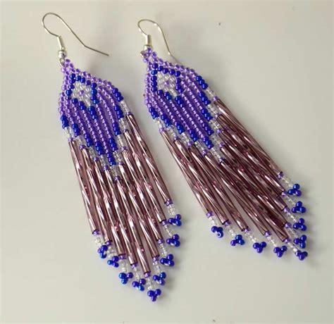 purple beaded earrings rena charles beaded earrings purple hoel s indian shop