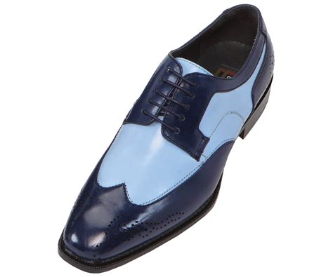 bolano mens two tone blue navy oxford dress shoe